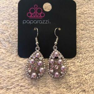 Paparazzi purple pearls/white rhinestones earring